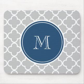Gray Quatrefoil Pattern, Navy Blue Monogram Mouse Pad