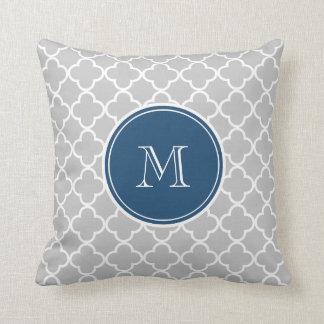 Gray Quatrefoil Pattern, Navy Blue Monogram Throw Pillow
