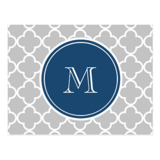 Gray Quatrefoil Pattern, Navy Blue Monogram Postcard
