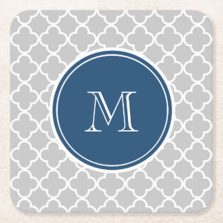 Gray Quatrefoil Pattern, Navy Blue Monogram Square Paper Coaster