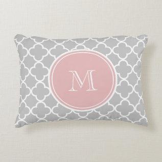 Gray Quatrefoil Pattern, Pink Monogram Accent Pillow at Zazzle