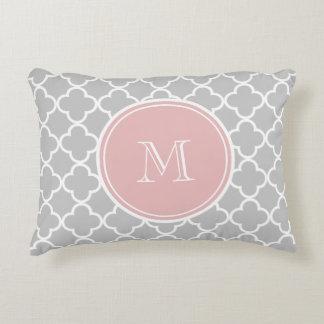 Gray Quatrefoil Pattern, Pink Monogram Accent Pillow