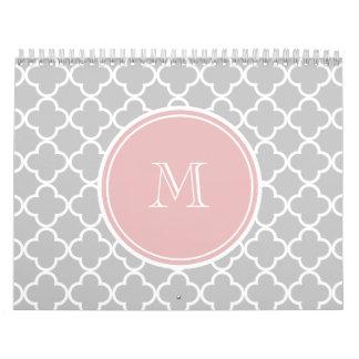 Gray Quatrefoil Pattern, Pink Monogram Wall Calendar