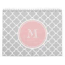Gray Quatrefoil Pattern, Pink Monogram Calendar