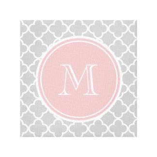 Gray Quatrefoil Pattern, Pink Monogram Canvas Print