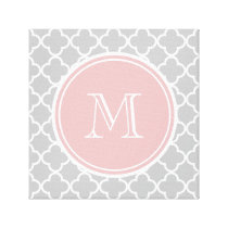 Gray Quatrefoil Pattern, Pink Monogram Canvas Print