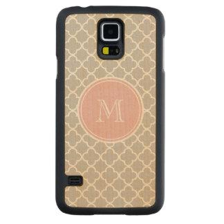 Gray Quatrefoil Pattern, Pink Monogram Carved® Maple Galaxy S5 Slim Case
