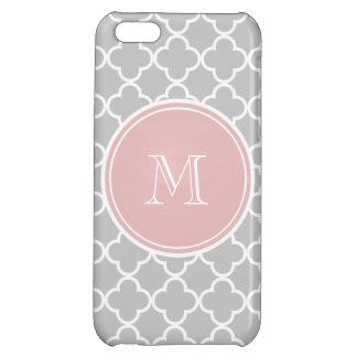 Gray Quatrefoil Pattern, Pink Monogram Cover For iPhone 5C
