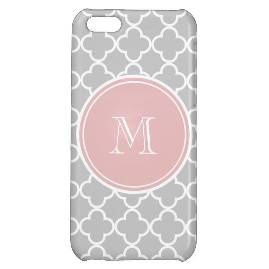 Gray Quatrefoil Pattern, Pink Monogram Cover For iPhone 5C