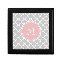 Gray Quatrefoil Pattern, Pink Monogram Gift Box