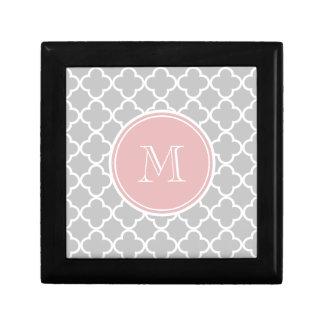 Gray Quatrefoil Pattern, Pink Monogram Gift Box