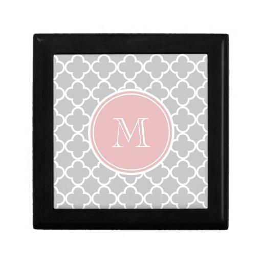Gray Quatrefoil Pattern, Pink Monogram Jewelry Box