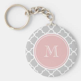 Gray Quatrefoil Pattern, Pink Monogram Keychain