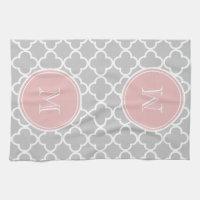 Gray Quatrefoil Pattern, Pink Monogram Kitchen Towel