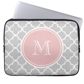 Gray Quatrefoil Pattern, Pink Monogram Laptop Sleeve
