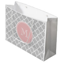 Gray Quatrefoil Pattern, Pink Monogram Large Gift Bag
