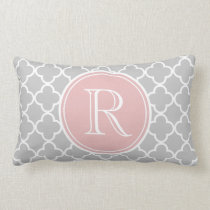 Gray Quatrefoil Pattern, Pink Monogram Lumbar Pillow