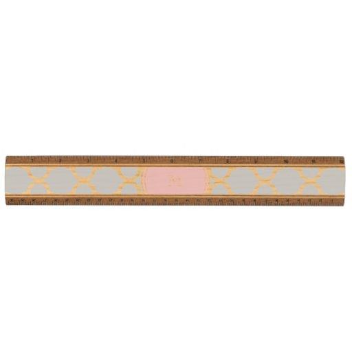 Gray Quatrefoil Pattern, Pink Monogram Wood Ruler