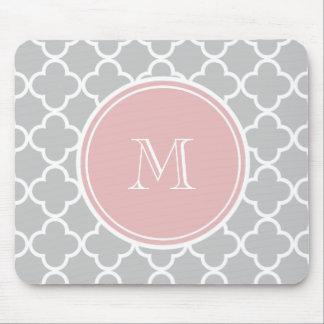 Gray Quatrefoil Pattern, Pink Monogram Mouse Pad