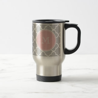 Gray Quatrefoil Pattern, Pink Monogram Mug