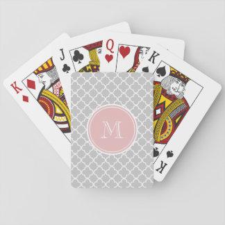 Gray Quatrefoil Pattern, Pink Monogram Deck Of Cards
