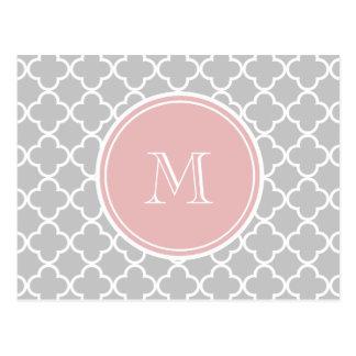 Gray Quatrefoil Pattern, Pink Monogram Postcard
