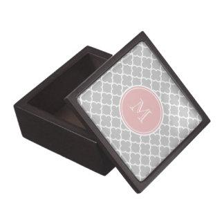 Gray Quatrefoil Pattern, Pink Monogram Premium Keepsake Boxes
