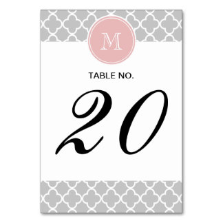 Gray Quatrefoil Pattern, Pink Monogram Table Cards