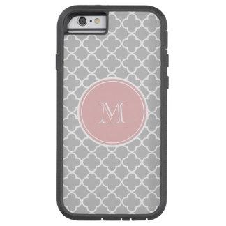Gray Quatrefoil Pattern, Pink Monogram Tough Xtreme iPhone 6 Case