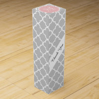 Gray Quatrefoil Pattern, Pink Monogram Wine Gift Box