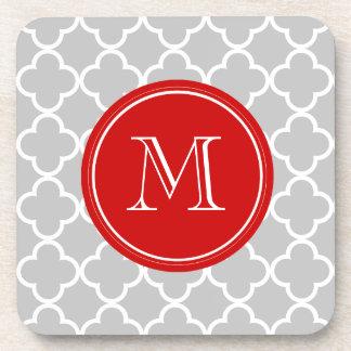 Gray Quatrefoil Pattern, Red Monogram Beverage Coasters