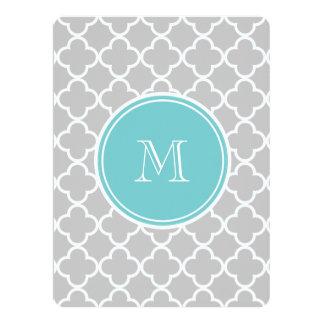 Gray Quatrefoil Pattern, Teal Monogram 6.5x8.75 Paper Invitation Card