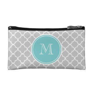 Gray Quatrefoil Pattern, Teal Monogram Makeup Bags