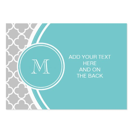 Gray Quatrefoil Pattern, Teal Monogram Business Card Template