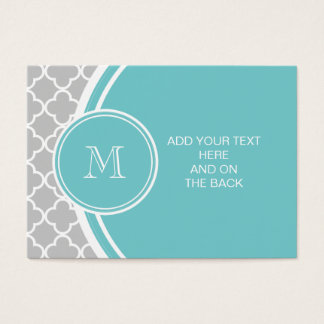 Gray Quatrefoil Pattern, Teal Monogram Business Card
