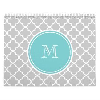 Gray Quatrefoil Pattern, Teal Monogram Calendar