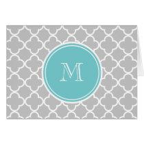 Gray Quatrefoil Pattern, Teal Monogram Card