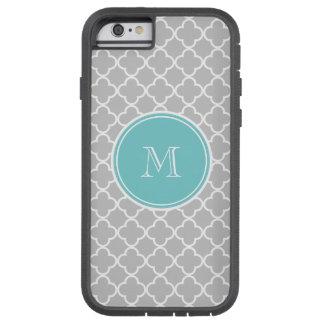 Gray Quatrefoil Pattern, Teal Monogram Tough Xtreme iPhone 6 Case