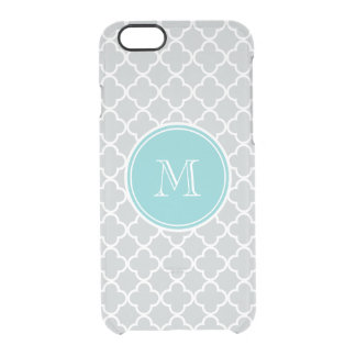 Gray Quatrefoil Pattern, Teal Monogram Clear iPhone 6/6S Case