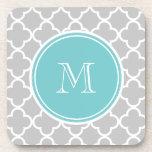 Gray Quatrefoil Pattern, Teal Monogram Coaster