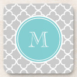 Gray Quatrefoil Pattern, Teal Monogram Drink Coaster