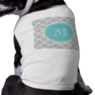 Gray Quatrefoil Pattern, Teal Monogram Dog T-shirt