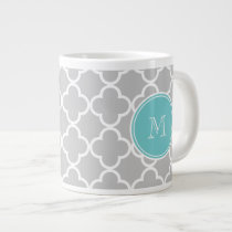 Gray Quatrefoil Pattern, Teal Monogram Giant Coffee Mug