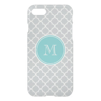 Gray Quatrefoil Pattern, Teal Monogram iPhone 8/7 Case
