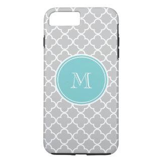 Gray Quatrefoil Pattern, Teal Monogram iPhone 8 Plus/7 Plus Case