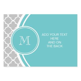 Gray Quatrefoil Pattern, Teal Monogram Large Business Card
