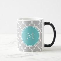 Gray Quatrefoil Pattern, Teal Monogram Magic Mug