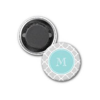 Gray Quatrefoil Pattern, Teal Monogram Fridge Magnet
