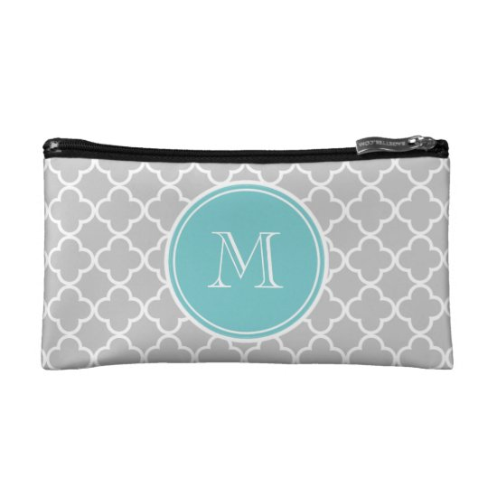Gray Quatrefoil Pattern, Teal Monogram Makeup Bag