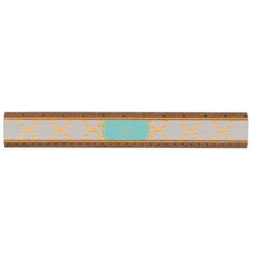 Gray Quatrefoil Pattern, Teal Monogram Wood Ruler